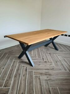 Large Solid Oak Farmhouse Dining Table 8 foot by 3 foot