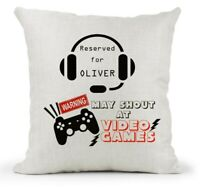 Personalised Cushion, Teenager Boys Reserved For Video games/PS3/4/Xbox/Gamer