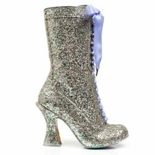 Irregular Choice NEW Luna Sparkles silver glitter lace high heel ankle boots UK6