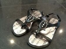 Juicy Couture New & Genuine Girls Black Leather Sandals UK 12, EU 31 With Logo
