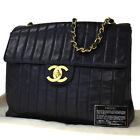Authentic CHANEL CC Logo Mademoiselle Chain Shoulder Bag Leather Black 399LB338
