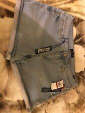 $49  Woman's Seven 7 Sz14 Kinit Denim Light Blue Cutoff Summer Short Short
