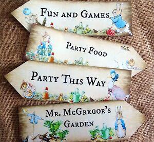 Set of 4 Beatrix Potter Peter Rabbit Party Decoration Arrow Signs