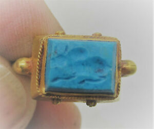 ANCIENT SASANIAN TURQUOISE STONE INTAGLIO SET IN HIGH CARAT GOLD RING SUPERB