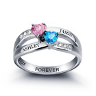 Size 7 Double Birthstone Hearts Split Band Ring 925 Sterling Silver Personalised