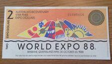 World Expo 88 Banknote. 2 Dollars. Australia's Bicentenary. 1788-1988.
