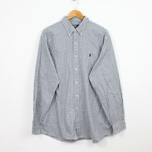 N66 Ralph Lauren Ellington Men Blue Grey Casual Check Long Sleeve Shirt Size XL