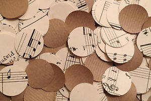 Rustic Circle Wedding Table Decor/Confetti - Sheet Music/Notes & Kraft Paper Mix