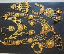 Bollywood Jodha Akbar Gold Bridal Indian Complete Necklace set 8 pcs .