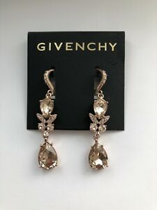 Givenchy Rose Gold Swarovski Element Double Drop Earrings