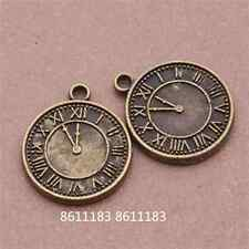 12pc Antique Bronze Clocks Pendant Charms Beads Jewellery Craft GP590
