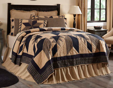 Dakota Star California King Quilt Primitive Rusti​c Black/Khaki Plaid Vhc Brands