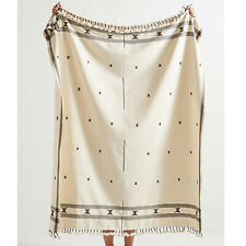 Anthropologie Embroidered Jodi Throw Blanket Fringe Ivory Cocoa Tassels Cotton