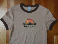 Denver Colorado T-Shirt Sunset Mountain Pine Tree Souvenir Tee Shirt Women Small
