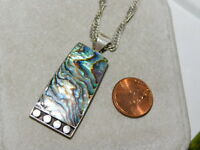 "Sterling Silver Blue Green Abalone Shell Pendant 19"" chain Necklace 6k 5"