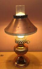 Vintage Copper & Brass Table Lamp Delicate W/Glass Flue & Brass Filigree Design