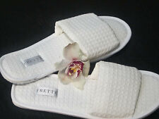 2 Pairs of FRETTE Hotel Collection White Open-Toe Waffle Weave Spa Slippers