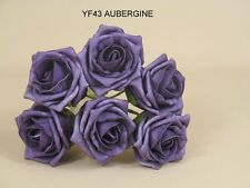ARTIFICIA Foam Roses x 6 roses Wedding .Button holes AUBERGINE VARIOUS COLOURS