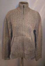 ABERCROMBIE & FITCH WOOL ZIP FRONT CARDIGAN SWEATER LIGHT BROWN MENS L CABLE