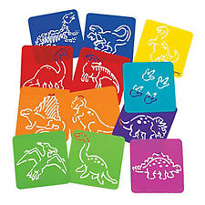 DINOSAUR PARTY Dinosaur Stencils Plastic Stencil Great Party Favour Pack of 12