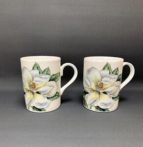 Pair Of Mugs - Roy Kirkham - Lilies - Fine Bone China - Made In England.