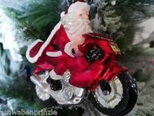 Motorrad Bike Biker Weihnachtmann Baumschmuck Glas handbemalt Christbaumschmuck