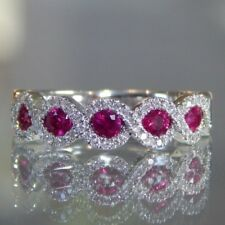 Gorgeous 925 Silver Rings Jewelry Oval Cut Ruby Women Wedding Rings Size 8