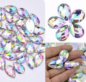 50x Sew On Rhinestone Flat back drop Teardrop Large AB Bead Diamante Gem Crystal