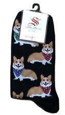 Socksmith Women's Crew Socks Corgi Puppy Dog Black Novelty Footwear Apparel Nwt