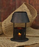 Small Country Decor Tealight Candle Lantern w/ Cut-out Stars in Base, Tin Shade