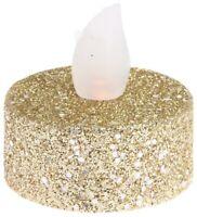 Set Of 12 Gold Glitter Led Tea Light Candles Batteries Included