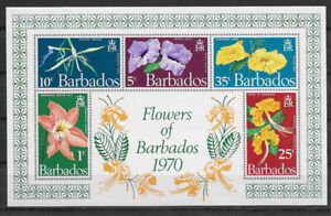 BARBADOS , 1970 , FLOWERS , SOUVENIR SHEET , IMPREF , MNH , CV$4