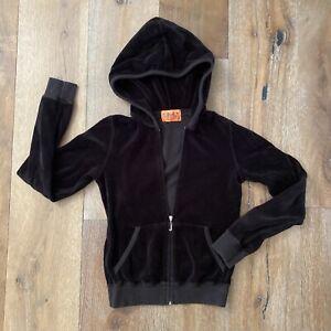 Original Juicy Couture Vintage Black Velour Hoodie Jacket Small Orange Tag Y2k