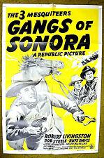 "Western cowboy trio -- THE 3 MESQUITEERS  / 1941 poster 27x41 - ""GANGS OF SONORA"