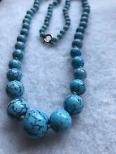 1930s Glass Necklace Vintage Faux Turquoise Opaline Graded Beads Knotted Retro