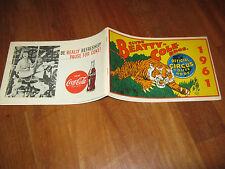 ROUTE BOOK 1961 CLYDE BEATTY COLE BROS. CIRCO CIRCUS,TIGRE,COCA COLA,R.BUTLER