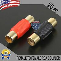 20 Pcs Bag Female To Female RCA Couplers RED/BLACK w/Gold Plated Connectors PACK