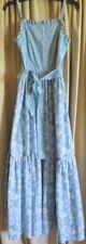 Vtg 80s 50  Sun Dress Blue Floral  LANZ ORIGINALS Small