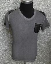 215 F1 r-neal Hombre Camiseta gris con piel sintética Esquina manga corta