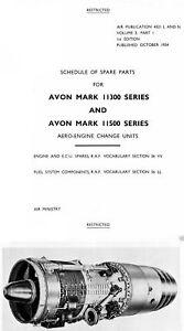 Rolls-Royce Avon Aero parts service manual rare 1950's Jet engine 700 pages