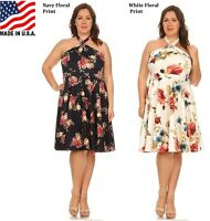 MISSY SUNDRESS PLUS SIZE SLEEVELESS HALTER MIDI DRESS 1X 2X 3X 4X