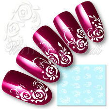 ACQUA DI ROSE Nail Art Decalcomanie Transfers Adesivi FIORI Bianchi Puntini ROSE Y047A