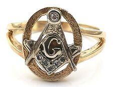 Vintage 14 Karat Yellow Gold & Diamond Masonic Freemasons Ring
