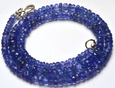 """NATURAL TANZANITE MICRO FACETED RONDELLE BEADS NECKLACE 3.5 TO 6 MM 16"""" AAA"""