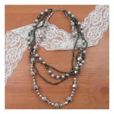 "17"" Necklace Costume Jewellery Silver Beads Crystal Party  Nice Boho Fashion 234"