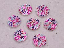 10 Heart Design Round Shell Buttons 15mm FREE P&P
