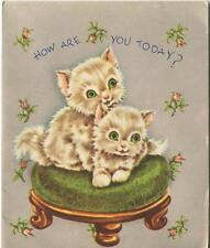 VINTAGE FLUFFY WHITE BEIGE KITTENS CATS GREEN EYES PINK ROSES FOOT STOOL CARD
