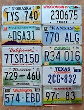 "10 US States "" NE WI AZ CA KS MO IN TN WA TX "" Bulk Set Mixed Lot License Plates"