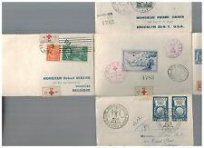 1946 France Around the World Flight Red Cross Cover Belgium USA