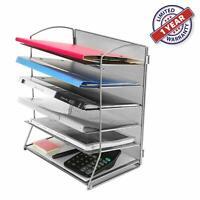 Desktop File Holder Metal Desk Organizer Mesh Sorter Storage Folder 6-Trays Grey
